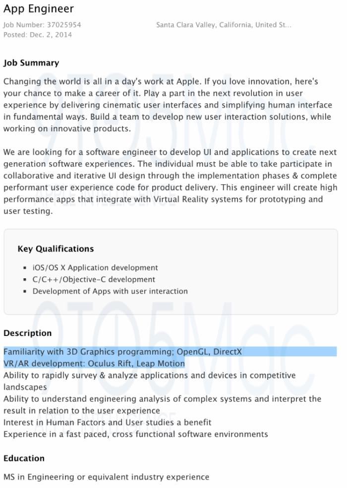 Anúncios reforçam rumor de que Apple quer trabalhar com Realidade Virtual