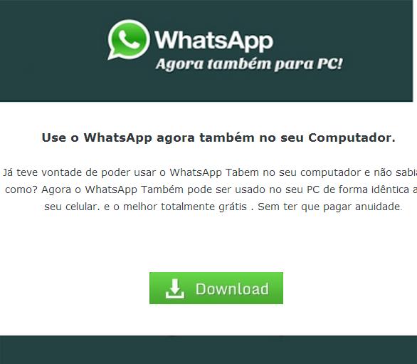 Facebook distribui vírus com anúncio falso de WhatsApp para PC
