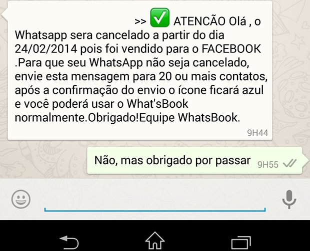 Começa a circular nova corrente falsa do WhatsApp