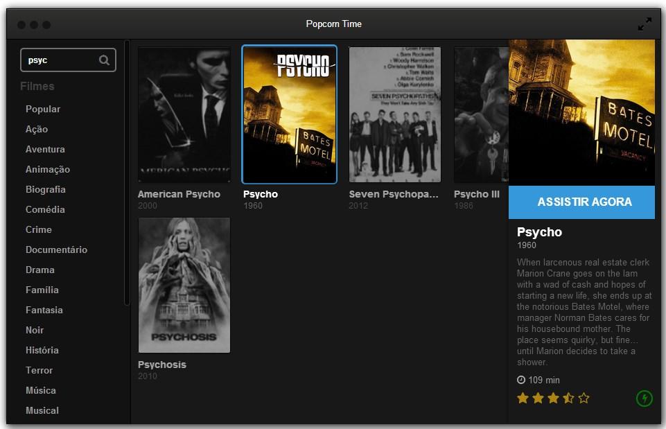 Busque o filme e configure tudo antes de assistir.