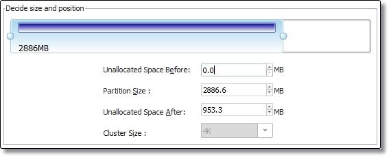 Edite o tamanho das partições
