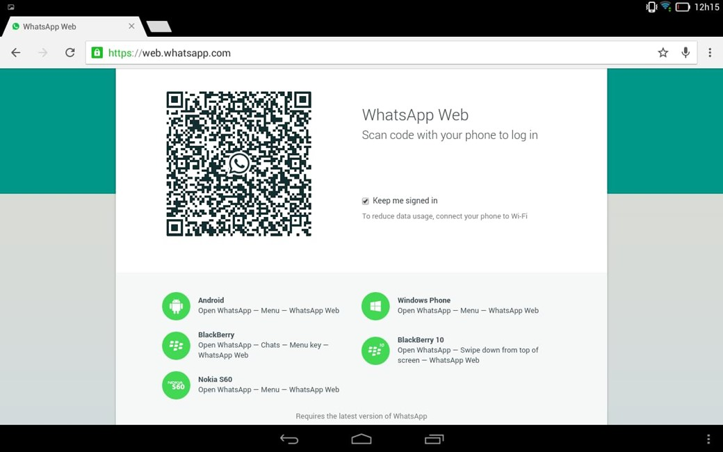 how to connect to whatsapp web on tablet