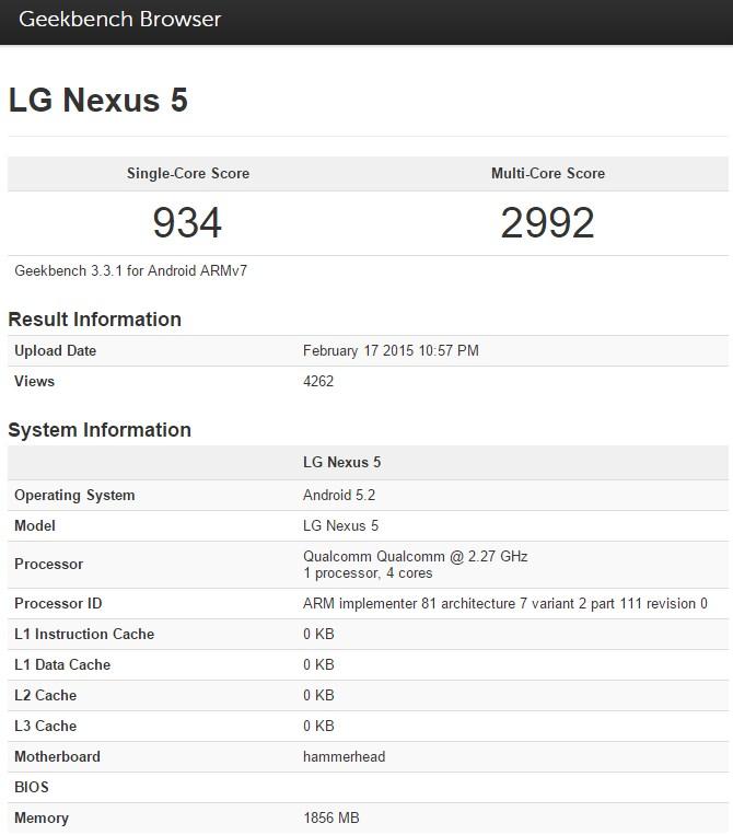 Android 5.2 flagrado em um teste de benchmark em um nexus 5