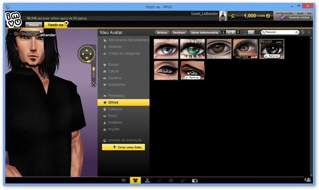 Mudando a cor dos olhos