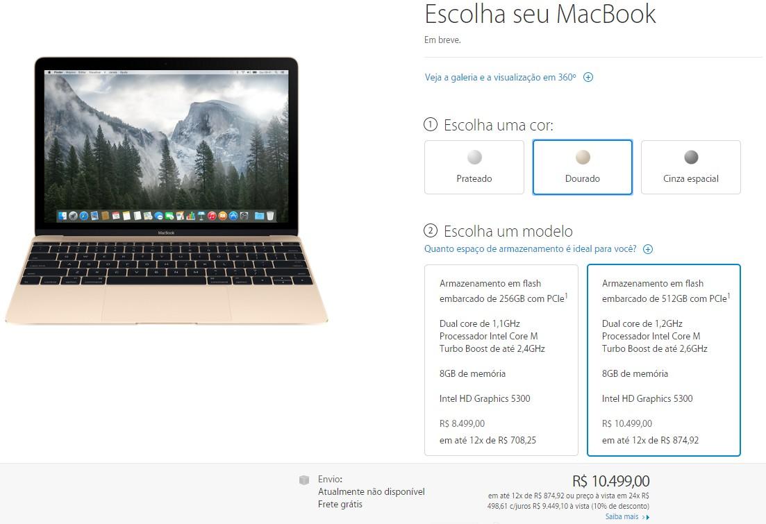 Preço do novo MacBook