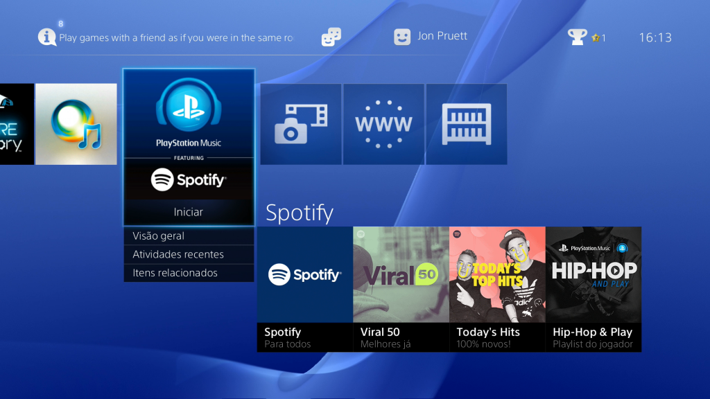 Spotify para o PS4 ZZZGamesBR