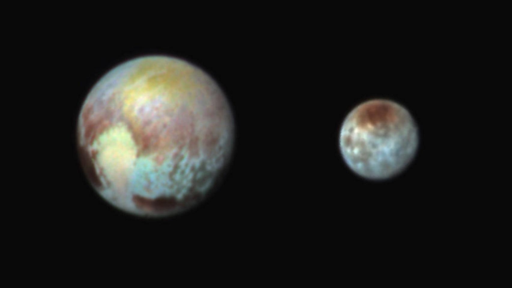 Coloração artificial sobre Plutão.