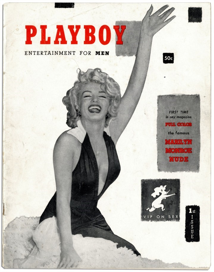 A deusa Marilyn Monroe foi a primeira capa da Playboy.