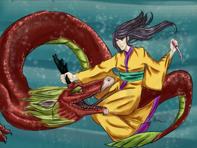 Na lenda japonesa, Tokoyo matou o dragão Yofune-nushi com um punhal no coração