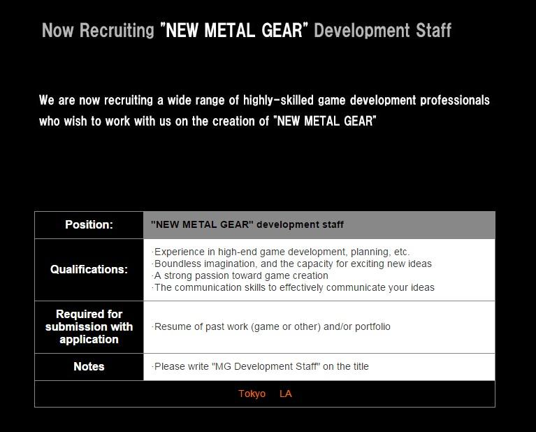 Eita! Konami não larga o osso e abre vagas de trabalho para novo Metal Gear
