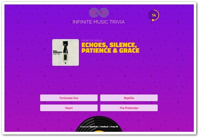 Se acha bom em identificar os nomes das musicas? Tente jogar Infinite Music Trivia e mude seu conceito 05195625610030