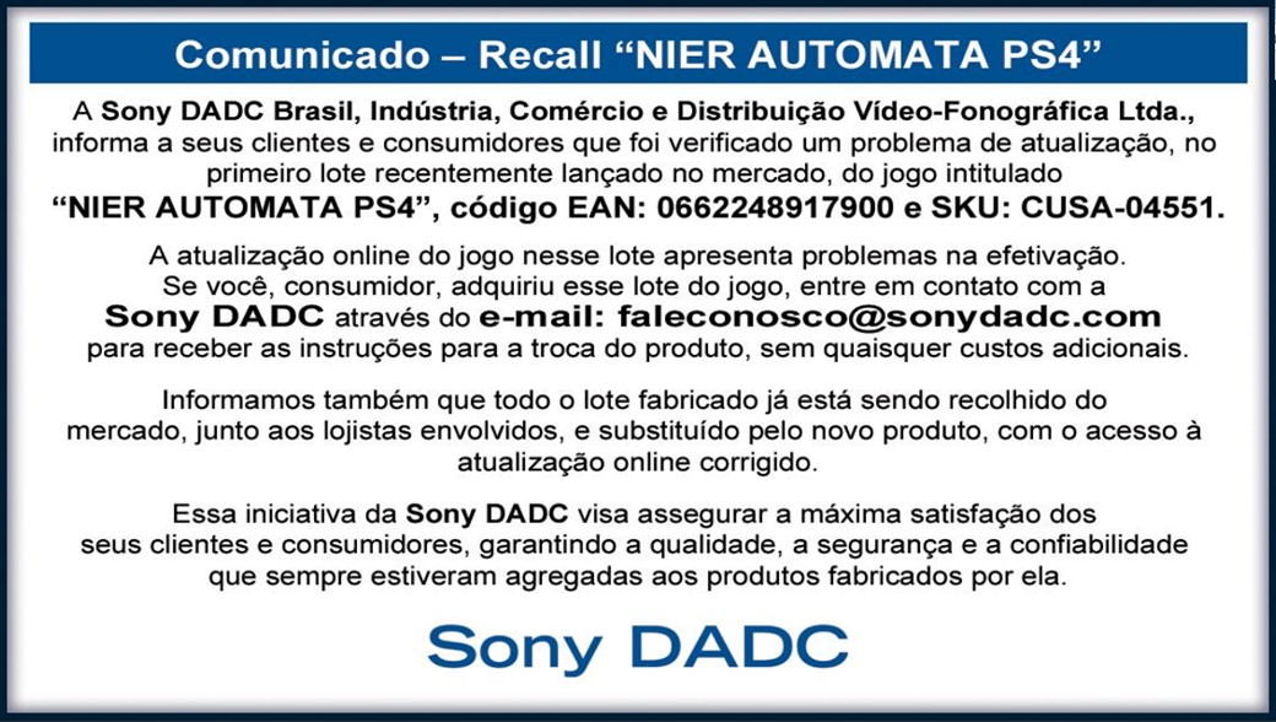 Cópias físicas de NieR: Automata vão ter recall no Brasil