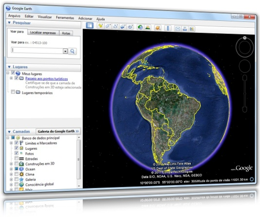 Interface geral do Google Earth