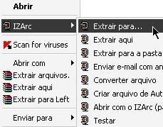 Use o IZArc através do menu de contexto