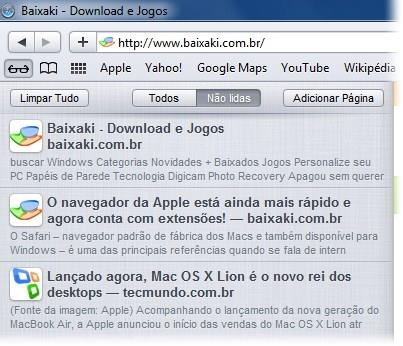 Lista de leitura, novo recurso do Safari.