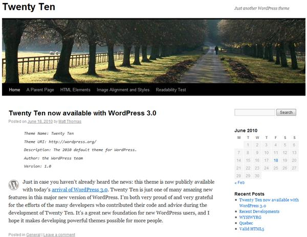 Tema TwentyTen é o novo padrão do Wordpress