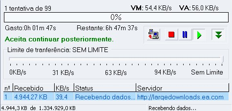 Janela de download