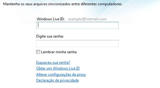 Acessar a conta do Windows Live Mesh