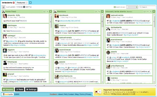 Layout multi-colunas do HootSuite