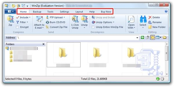 Visual do WinZip 15.0