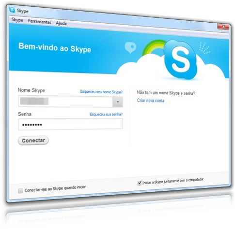 Novo login do Skype