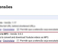 Aba de extens�es do Chrome