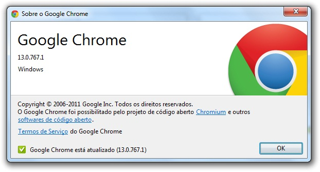 Sobre do Google Chrome.