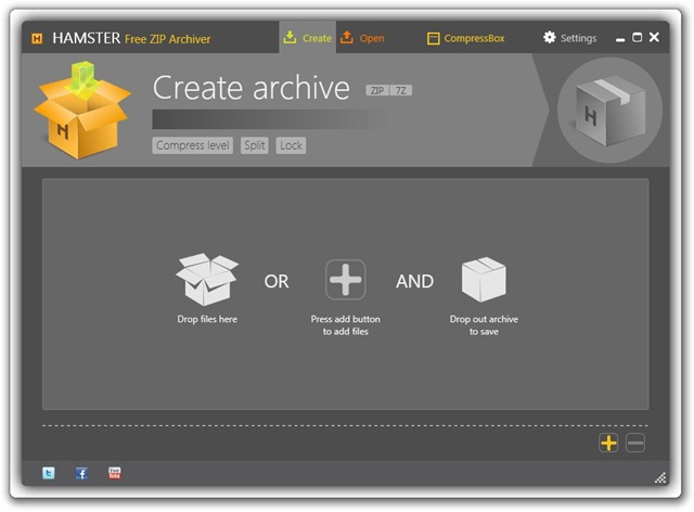 Interface do Hamster Free Zip Archiver