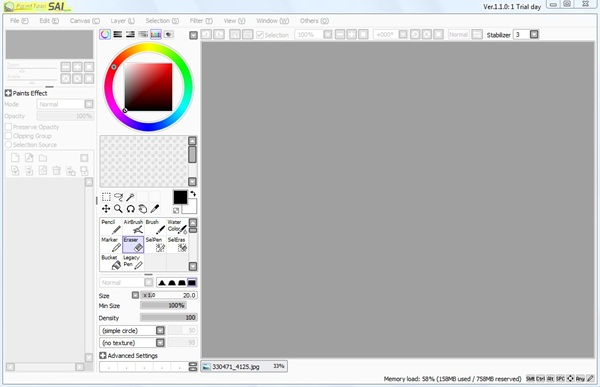 Interface do PaintTool SAI