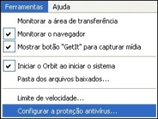 Configure a prote��o antivirus do programa.