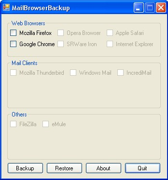 Interface do MailBrowser Backup