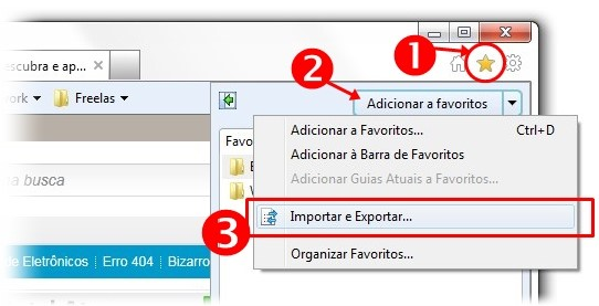 Exportando favoritos do IE