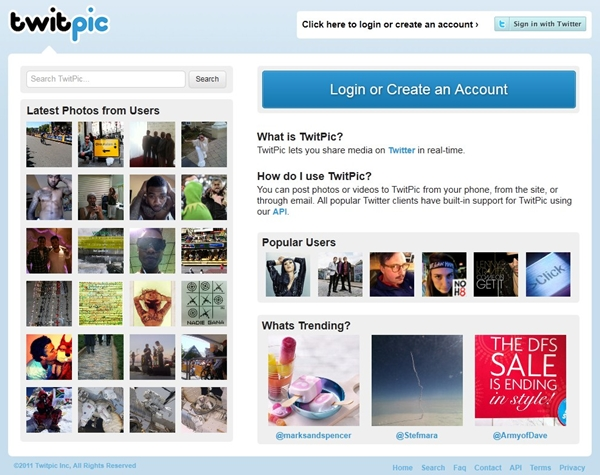 Ao enviar uma foto você cede direitos para o Twipic