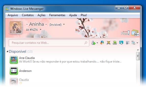 A imagem e a combinação de cores na janela do MSN