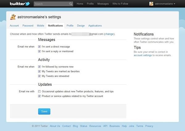 Configure todas as notificações e salve as mudanças