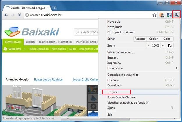 Entre nas opções do navegador