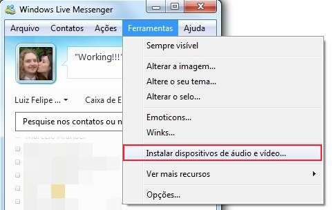 Como instalar dispositivos de áudio e vídeo no MSN