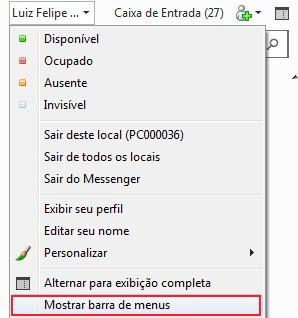Tornando a barra de menus do MSN visível