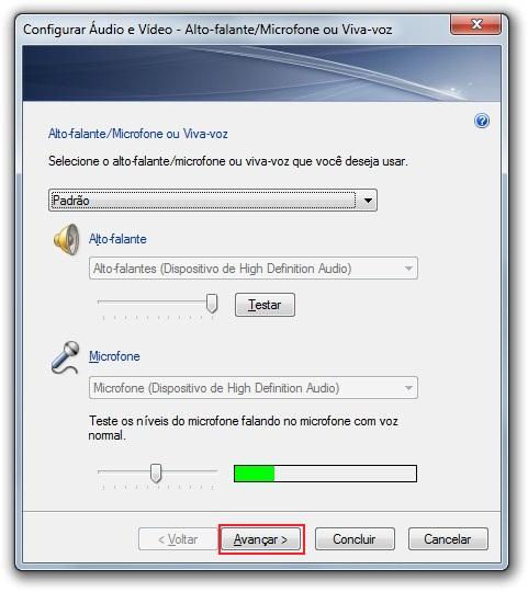 Configuração de áudio e vídeo no Windows 7