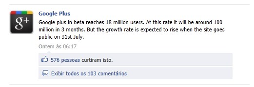 Google+ no Facebook