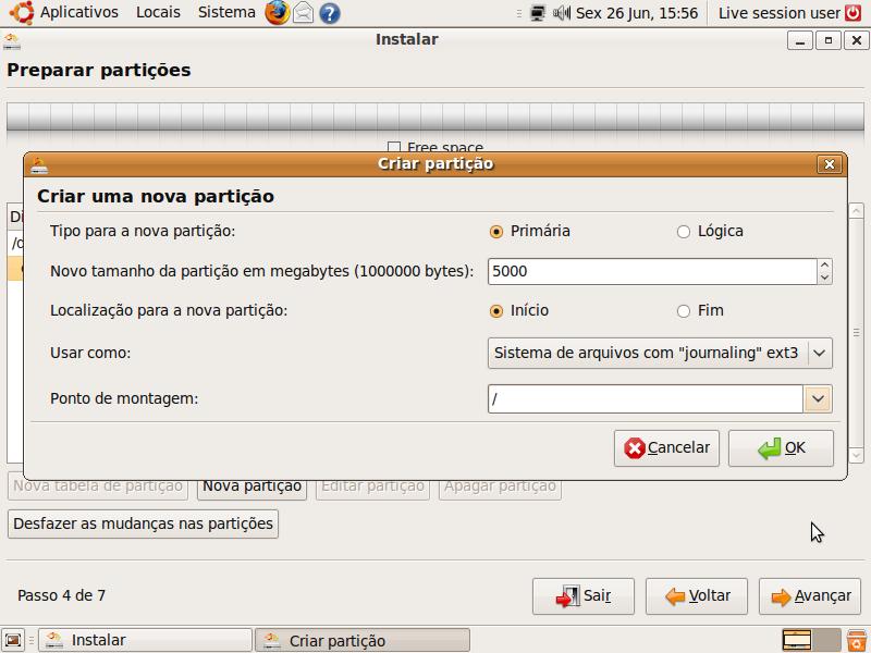 Particionador do Ubuntu