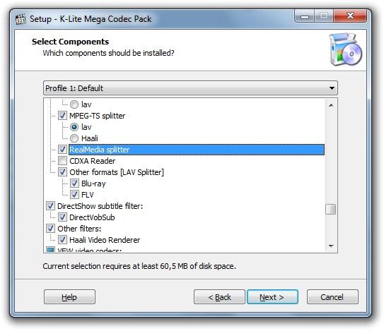 Setup K-Lite Mega Codec Pack