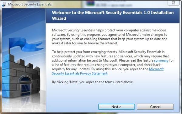 Instalação do Microsoft Security Essentials