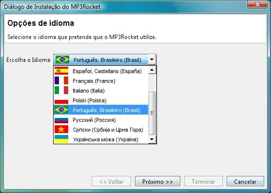 Escolha o idioma de sua preferência, que pode ser o português.