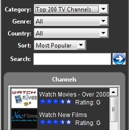 Liste canais de TV, estações de rádio e jogos online.