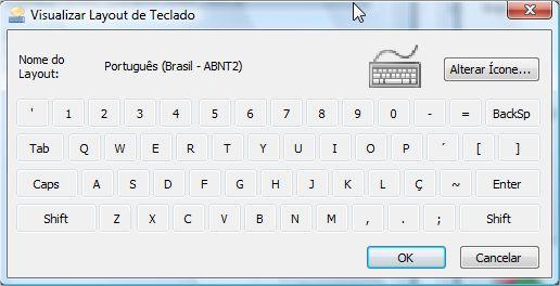 Prévia de cada configuração do teclado