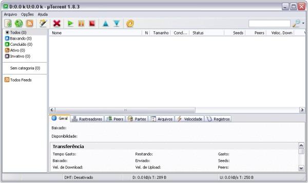 Visual do uTorrent