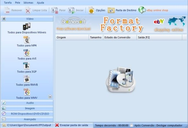 Interface do FormatFactory