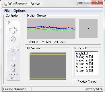 WiiMote já com os movimentos reconhecidos no computador