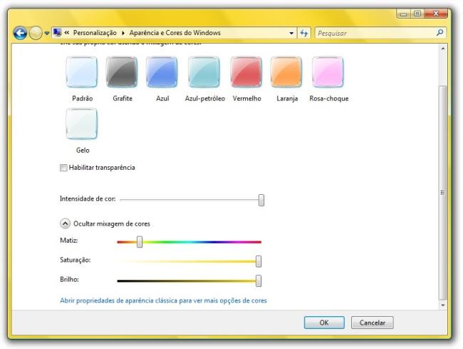 Mudando a cor das janelas.